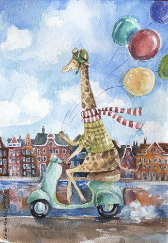 sliczna-zyrafa-jedzie-retro-hulajnoga-trzyma-kolorowych-balony-w-jeden-rece-na-europejskim-miescie