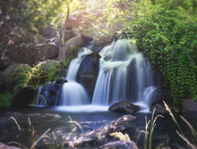 Pretty Waterfall (slow Shutterspeed For Cascading Water Softening) With A Vintage Retro Instagram Filter