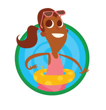 Vector Image Of A Round Green-blue Frame With Cartoon Image Of A Funny Boy With Big Eyes, With Brown Hair In Orange Shorts, A Purple T-shirt Is Playing With White And Black Ball On A White Background.