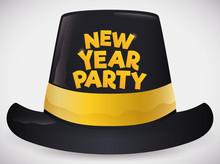 Isolated Black And Golden New Year's Party Hat, Vector Illustration