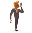 Vector cartoon image of a black businessman with ginger hair in black suit, pink shirt and red tie, talking on the black smartphone on a white background. Business illustration. Vector illustration.