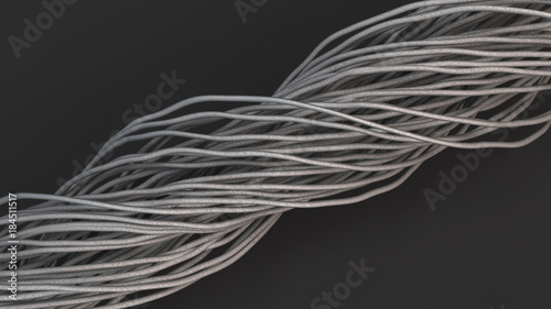 Fototapety, obrazy: Twisted aluminum wires on black surface