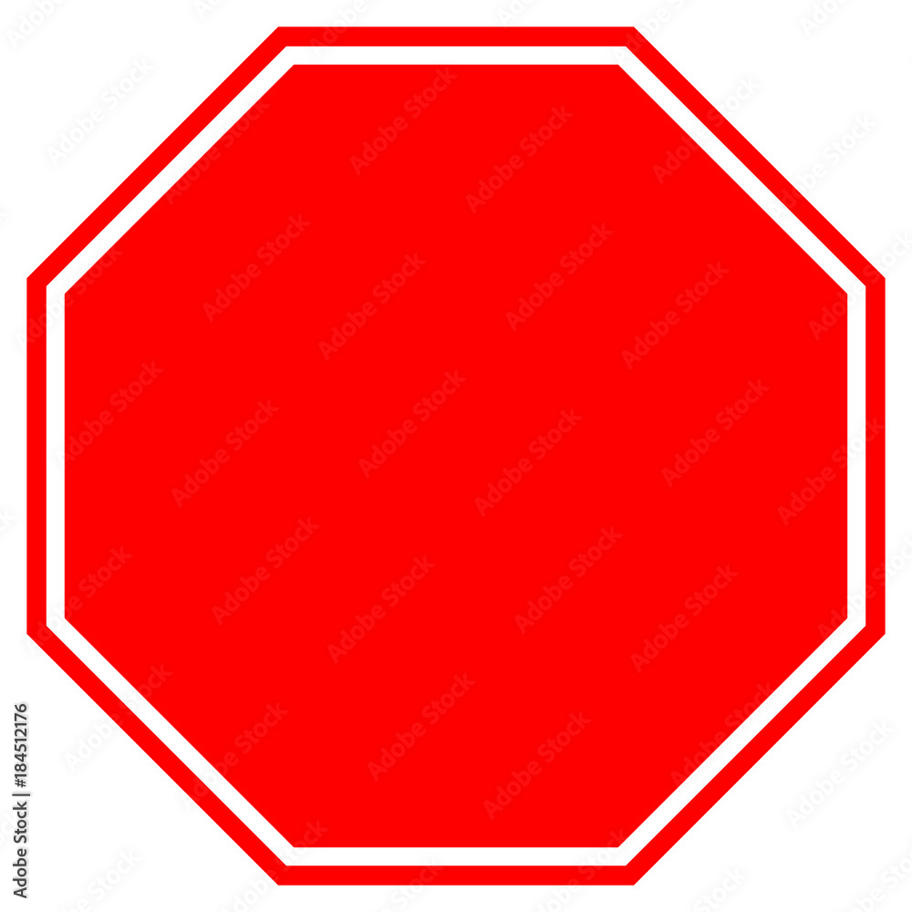 Fototapety, obrazy: STOP blank sign in red octagon. Vector icon.