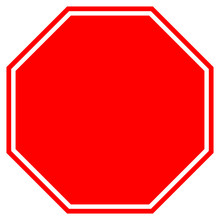 STOP Blank Sign In Red Octagon...