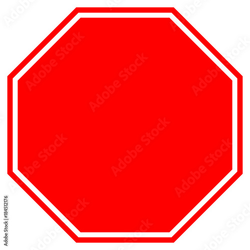 Fotografía  STOP blank sign in red octagon. Vector icon.
