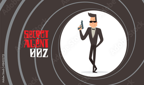 Valokuva  Vector image of a black background in the form of a gun barrel with a cartoon image of a secret agent in a black tuxedo in sunglasses with gray gun in his hand in the center