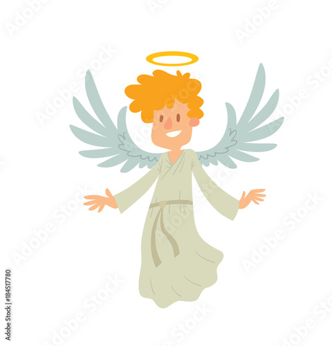 Vector cartoon image of a little male angel Wallpaper Mural