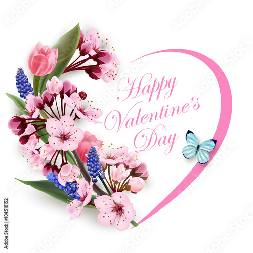 Greeting Card Happy Valentines Day With A Heart Of Flowers Pink