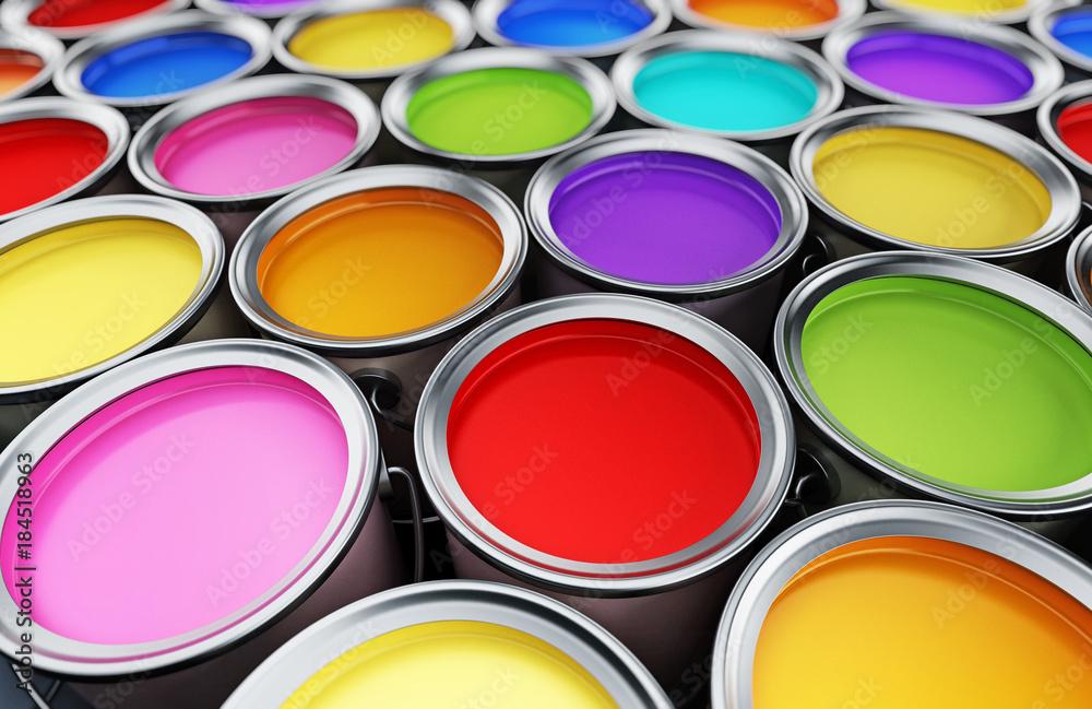 Fototapeta Multi colored paint cans background. 3D illustration