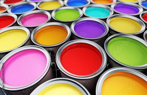 Fototapeta Multi colored paint cans background. 3D illustration obraz