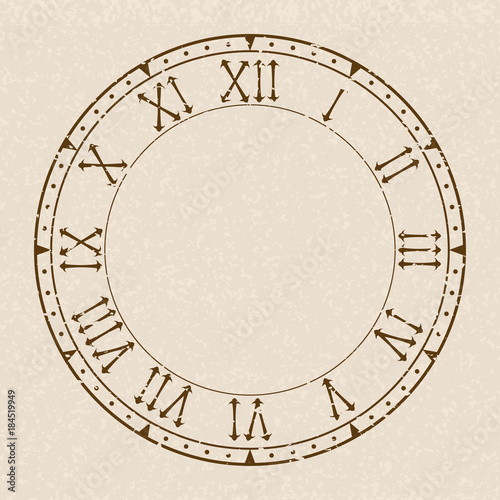 Blank Clock With Roman Numerals On Beige Background