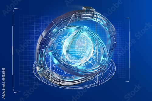 Staande foto Industrial geb. Hologram made of wheel with a futuristic data interface - 3d render