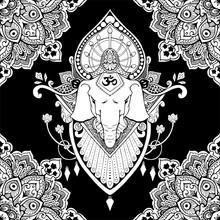 Ganesha (God Of Success) Mandala Oriental Drawing Tattoo Illustration Vector Seamless Pattern With Black And White Tone