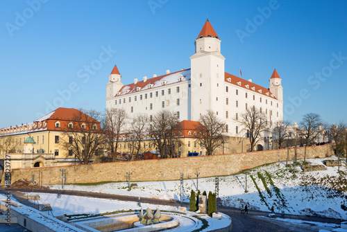 Bratislava - The castle in the winter light.