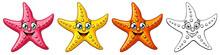 Three Cheerful Cute Starfishes...