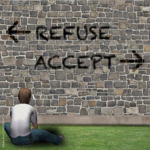 Ragazzo davanti alle scelte della vita, REFUSE, ACCEPT Wallpaper Mural