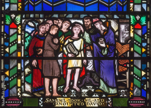 LONDON, GREAT BRITAIN - SEPTEMBER 16, 2017: The scene of the Anointing of David by Samuel on the stained glass in church St Etheldreda by Charles Blakeman (1953 - 1953) Wallpaper Mural
