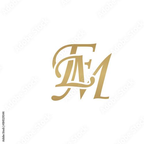 Photo  Initial letter EM, overlapping elegant monogram logo, luxury golden color