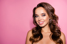 Pampering, Lips Correction, Dermatology, Dream, Healthcare Concept. Gorgeous Charming Lady With Ideal Face, Amazing Wavy Nice Modern Trendy Hairstyle, Full Pink Lips