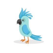 Cute Cartoon Trendy Design Little Blue Parrot . Tropical Animal Wildlife Vector Illustration Sticker Icon.