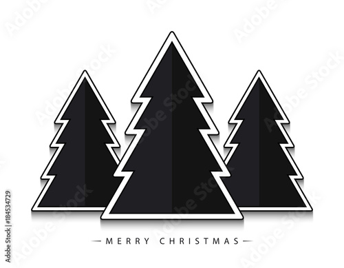 Merry Christmas Vector Abstract Geometric Black Christmas Trees