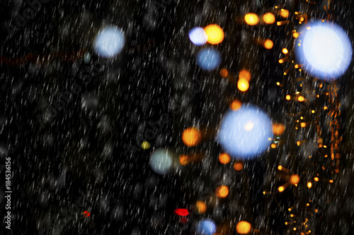 Christmas Lights And Snowing Background