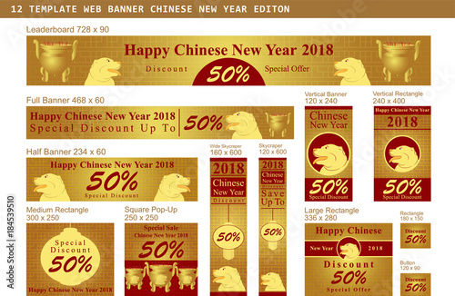 set of chinese new year sale banner with hanging lanterns and golden background vector illustration