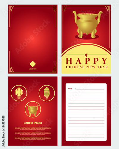 set of chinese new year greeting card with gong xi fa cai text on the cover