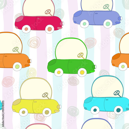 Staande foto Cartoon cars seamless pattern with retro cartoon car. vector print.