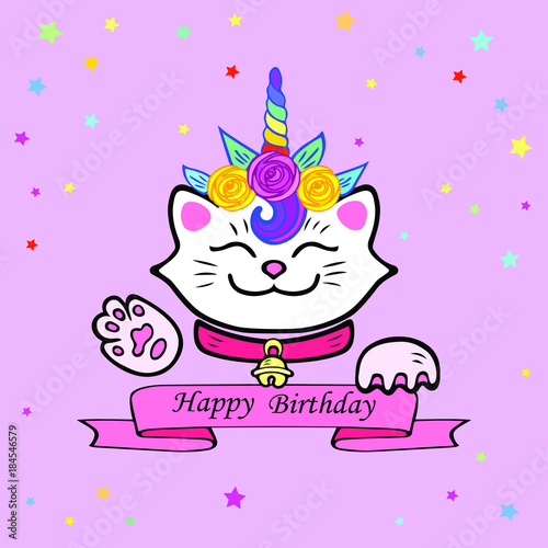Cute Happy Birthday Card With Cat And Unicorn Tiara Vector