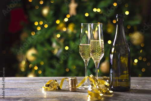 toast champagne new year christmas tree background
