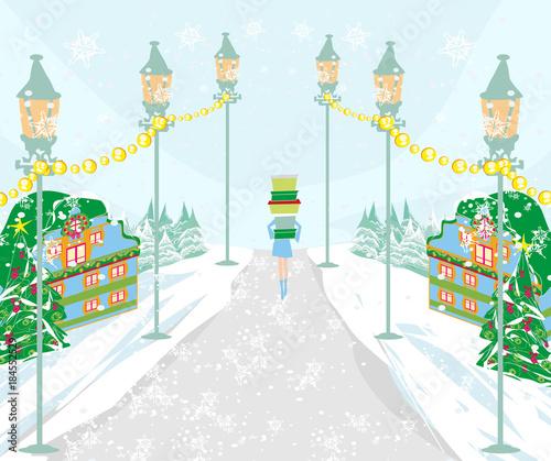 Tuinposter Lichtblauw Winter shopping girl