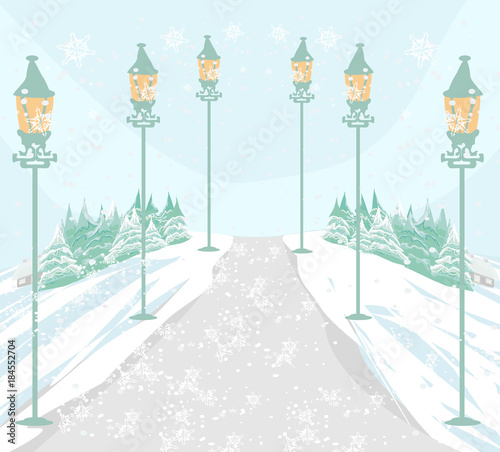 Tuinposter Lichtblauw Winter landscape illustration