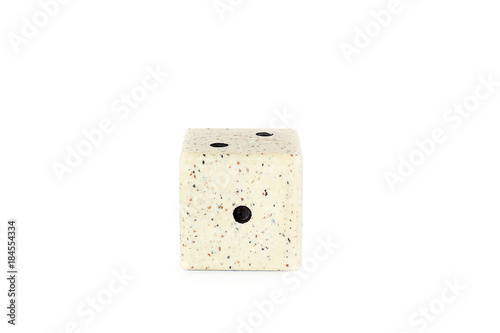 Game cube against white background. Figures. Cube of stone плакат