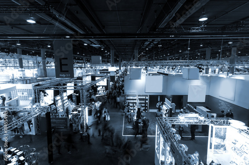 Tela blurred people at Frankfurt trade fair