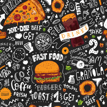 Fast Food Seamless Pattern In ...