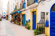 colorful streets of essaouira maritime town, morocco