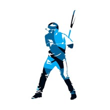 Baseball Batter Standing With Bat In His Hands, Abstract Blue Vector Silhouette