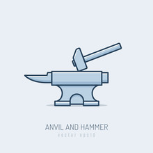 Forge Anvil With Hammer Vector...
