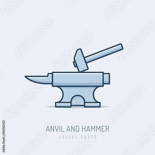 Forge anvil with hammer vector illustration in monoline style Wallpaper Mural
