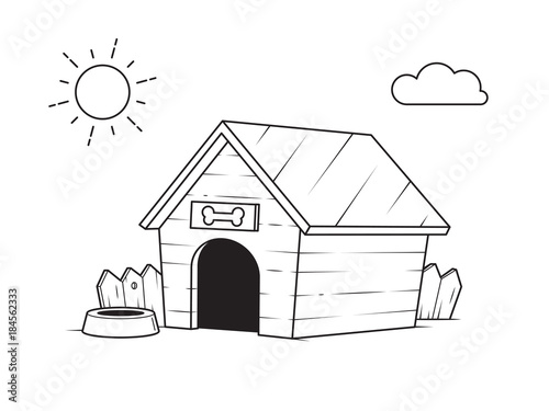 dog house in the backyard outline black and white drawing for coloring pages vector illustration. Black Bedroom Furniture Sets. Home Design Ideas