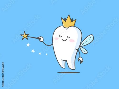 Fotografía Tooth fairy vector cartoon illustration