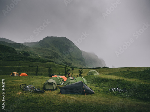 Staande foto Bleke violet magnificent landscape with mountains and tents in camping, Iceland