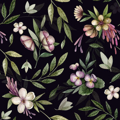 FototapetaSeamless pattern with watercolor flowers on dark background.