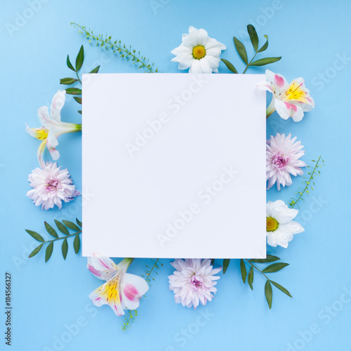 Poster Fleur Frame of chamomiles, branches, leaves and lilac petals on blue background. Flat lay, top view