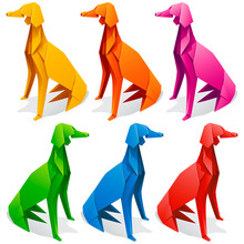 Vector Origami Paper Dogs. Yel...
