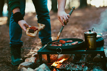 Old Kettle, Sausage In Camping