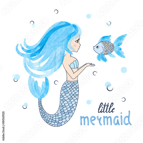 Photographie  Beautiful cartoon little Mermaid with fish. Vector illustration.