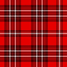 Seamless Tartan Plaid Pattern. Checkered Texture Background In Red And White.