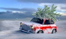 Auto Im Schnee Mit Tannenbaum